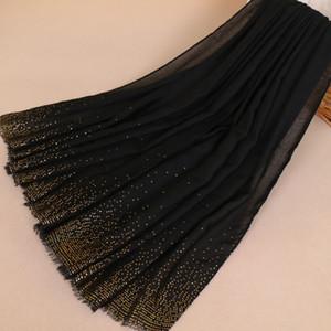Kadınlar Marka Moda Düz Bronz Altın Nokta Zincir Viskon Şal Eşarp Işıltılı Glitter Wrap Paşminalar Sjaal Müslüman Hicap Snood Y201007