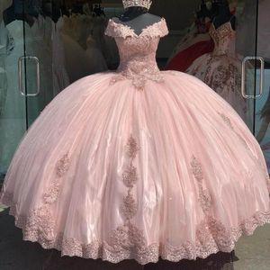 2020 fuera del hombro Vestidos hinchada rosada de Quinceañera vestidos de encaje Applqiue dulce 16 Prom Vestidos de encaje vestido de 15 años xv