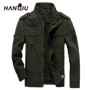 Hanqiu Brand M-6XL Bomber Chaqueta Hombres Ropa militar Primavera Abrigo masculino de otoño sólido Ejército suelto Chaqueta militar 201022