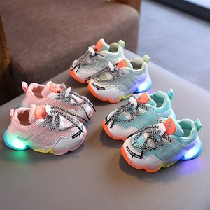 2021 Spring Autumn Infant Girl Boy light Shoes Breathable Baby Sneakers Fashion Color Trainers Soft Bottom Toddler Walkers Shoes Size 21-35
