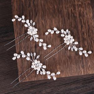 AiliBride 2 pezzi da sposa dei capelli della perla perni degli accessori dei monili dei capelli delle donne nuziale copricapo capelli Handmade