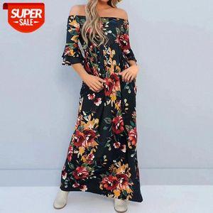 Kadın Elbise Moda Gevşek Boho Tarzı Off-omuz Çiçek Baskı Elbiseler Rahat Plaj Sundress Slash Boyun Bayanlar Yaz Elbise # ES9E
