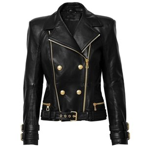 HIGH STREET New Designer Jacket Women's Lion Buttons Double Zippers Motorcycle Biker Synthetic Leather Jacket 201224