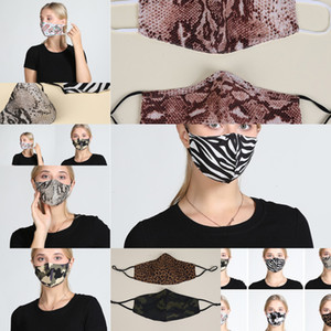 Leopard Stylish Mask Cheetah Cotton Print Camouflage Double Zebra Animal Layers Face Mouth Cover Washable ReusY1