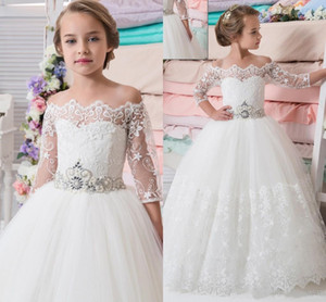 Lovely Princess Flower Girl Dresses Sweep Train Child First Communion Gowns for Wedding with Lace Appliques Kids Party Wear Custom