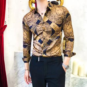 Luxury Golden Casual Shirt Men Long Sleeve Shirt Dress Slim Fit Tuxedo Shirts Male Fashion Streetwear Social Night Club Shirt 201021