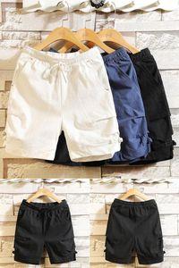 pantalones de traje pantalones cortos de algodón y lino playa VFUNJ 2020 hombres del verano nuevos jóvenes cortos hasta los tobillos Beach Tang ocasional pantalones cosechados RKPHN