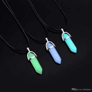 Collares de cuero collar luminoso fluorescente de la piedra natural cristal
