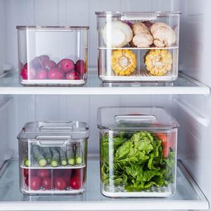 Frigorífico Food Recipientes de armazenamento com tampas Cozinha Seal Tanque de plástico vegetal separado Fresh Fruit Box Big ml