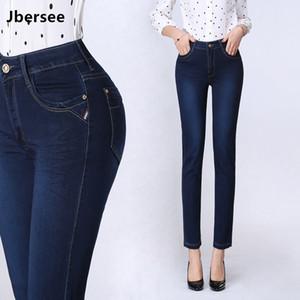 Jbersee spring outono feminino jeans retos esticar jeans de cintura alta 9 points jeans mulher tamanho grande denim calças calças 201030