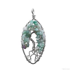 Радуга ожерелье Tree Of Life Quartz Овального природный камень ожерелье