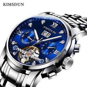 Мода Мужские Автоматические механические Часы Kimsdun Бизнес Светящиеся Дата Дисплей Турбийон Часы Relogio Masculino1