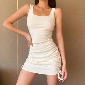 2020 New Women Sexy Sleeveless Square-neck Dress Summer Fashion Slim Drawstring Solid Color Dress for Ladies