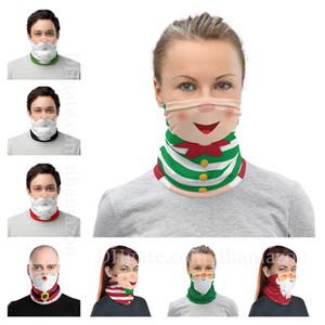 Chirstmas 얼굴 방패 두건 페이스 마스크 야외 스포츠 두건 매직 여성들의 머리 수건 착용 헤드 밴드 바이저 넥 게이터 크리스마스 선물 마스크
