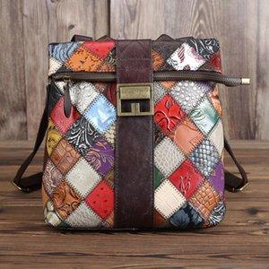 SIMLINE Gerçek Deri Sırt Çantası Kadın Vintage Patchwork Küçük Sırt Omuz Çantası Okul Çantaları Sırt çantası için Grils Kadın Zip