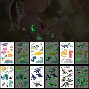 Luminous Temporary Tattoo Cartoon Dinosaur Design Water Transfer Tattoo Sticker Paper Kids Accessories Cultivate Children's Animal Knowledge