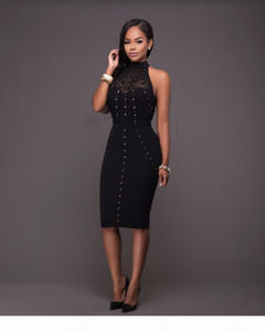 VAZN Summer Dress Womens Sexy Dresses Party Night Club Wear Ladies Bodycon Black Red Mesh Pencil Midi Dress Vestidos q171118