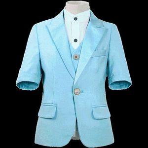 Dollbling Детская одежда синий белый с коротким рукавом Летнее платье Удобный день рождения костюм Мелко Зашито Детский костюм