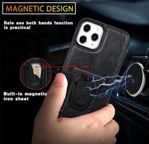 2020 Pu Leather Phone Case Cover With Magnetic Ring Bracket Stand Holder For Iphone 11 12 Pro Max Xs Max jllqVt net_store