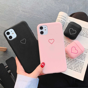 Soft Case 11 X Xr Xs Airpods 1 2 Love Heart Cover for Phone 8 Plus 7 6S 6 5 5S SE2 12 Pro Max Mini