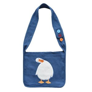 Luxury Handbag New Canvas Cartoon Embroidery Shoulder Bag Large Capacity Casual Shopping Bag Women's Messenger