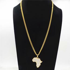 Mapa de África de los collares pendientes del Rhinestone de Bling cristal del color oro de Hip Hop Cadena Para Hombres Mujeres regalos CY20 joyería africana