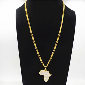 Африка Карта кулон ожерелье Bling Rhinestone Кристалл цвет золото Hip Hop Цепь для мужчин женщин Подарков African Jewelry CY20