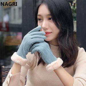 Winter Fashion Women 2020 Thick Warm Chammy Suede Leather Fur Fleece Touchscreen Mittens Driving Elegant Plush Gloves for Women