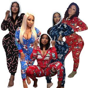ZKYZWX Wear Salão Hoodies Natal Imprimir Zip manga comprida Jumpsuit por Mulheres Início Roupa Moda One Piece Outfits Romper