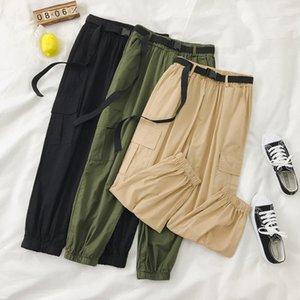 Kjmyyx automne hiver nouveau pantalon de cargaison couleur solide taille haute ceinture pantalon décontracté lâche harajuku pantalons mode nouveau 201106