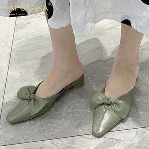 Lapolaka 2020 New Fashion Bowtie Concise Pumps Mules Shoes Woman Slip On Chunky Heels Elegant Dropship Pumps Women Shoes