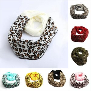 New Fashion Leopard Printed Knitted Scarf 9 Colors Winter Warm Scarves Woman Outdoor Soft Knitted Neck Scarves Sea Shipping DDA610