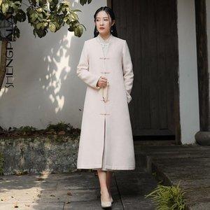 Shengpalae 2021 otoño invierno estilo chino abrigo mujer con cuello en V de las mujeres con hebilla largada retro longitud larga capa de lana 5A328