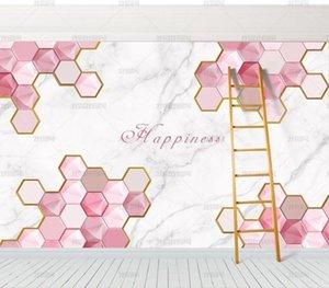 Bacal Custom 8d Tapete Rosa Geometrie TV Hintergrund Wand Dekoration Wohnzimmer Schlafzimmer 3D Wallpaper Papel de parede1