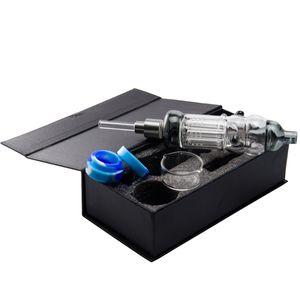 New NC033 Set comb Perc Glass Water Pipes With Gift Box 510 Titanium Quartz Nail Silicone Jar Mini Glass Bong Dab Rigs