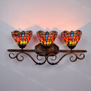 Wall Lamps Three Head European Retro Red Dragonfly Multicolor Gass Mirror fFrontLamp For Bbathroom Dresser Wndow Corridor Bar DHL