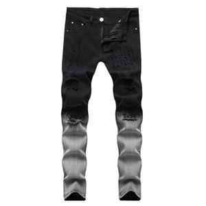 New Gradient Color Ripped Jeans Men Casual Slim Fit Mens Skinny Jeans Homme Brand Motor Biker Hip Hop casual Denim Pants Trouse