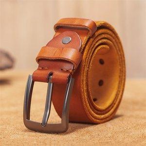 VAMOS KATOAL Men leather belt,Retro top quality Genuine Leather Belts for men, Male metal Pin Buckle belt LJ201030