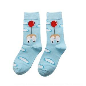 delle donne di media tubo Media Mercerized 200 aghi cotone mercerizzato femminile tendenza personalità calzini animale animazione del cotone del fumetto calzini nfsK