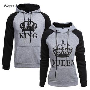Weyes Kelf gedruckten Buchstaben König Dame Long Sleeve Paar Kleidung Pullover Frauen Frauen Sweatshirt Langarm-Kapuzenshirt Kpop 201008
