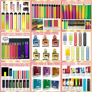 Bang XXL Puff Xtra Air Max Bar Posh Plus XL EXTRA 1200 1500 1600 2000 Puffs M. Vapor VGöD STIG Vider Pod jetable Vape Pen