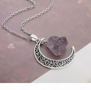 K Good A ++Selling Natural Stone Moon Necklace Star Moonlight Gem Crystal Pendant Wfn070 (With Chain )Mix Order 20 Pieces A Lot