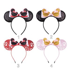 Valentine's Day Girls Bow sequins hair accessories Baby Mouse print princess headbands Children Hair Sticks kids hair hoop Z0127