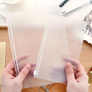 A5 A6 A7 Transparent Binder PVC Zipper Storage Bag 6 Hole Waterproof Stationery Card Bills Bags Office Travel Portable Document Sack BWF2555
