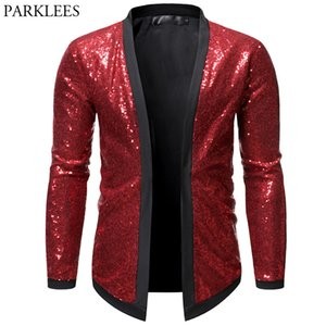 Sequin Bomber Jacket Men Red Shiny Glitter Jackets Men Cardigan Nightclub Dj Show Dance Stage Performance Mens Chaqueta Hombre Y1112