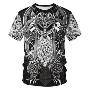 2020 new fashion men's three-dimensional hat sweater printing pirate tattoo T-SHIRT T-SHIRTS short sleeve uniform Nordic universe Street