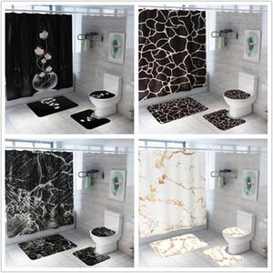Shower Curtain Moda Criativa Marble Printing Banho Waterproof 4 Pieces Pedestal Rug Lid Tapete Toilet Tampa Bath Mat Set