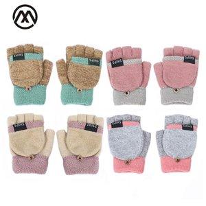 2020 otoño e invierno linda damas fugas guantes de medio dedo completa carta de tejer guantes del dedo pequeño botón caliente de espesor