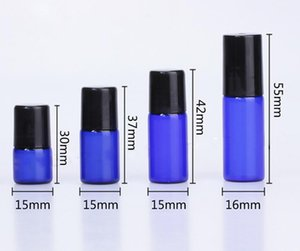 Factory Supply empty blue roll on bottle aromatherapy essential oil roller bottles 1ml 2ml 3ml 5ml with black cap 3000pcs lot