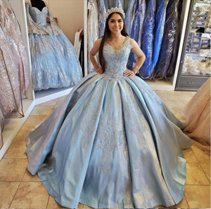 Light Blue Quinceanera Dress Ball V-Neck Lace Appliques Sequined Backless Floor Length Sweet 15 Prom Party Princess Gown 2021